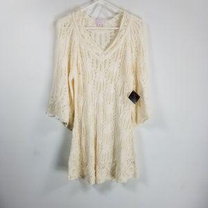 NWT JW 3/4 sleeve crochet tunic XL cream vneck